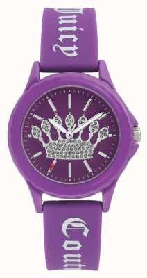 Juicy Couture Correa de silicona púrpura para mujer, reloj con corona púrpura JC-1001PRPR
