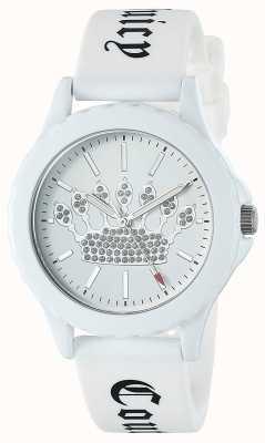 Juicy Couture Correa de silicona blanca para mujer reloj esfera blanca corona JC-1001WTWT