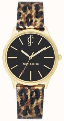 Juicy Couture Correa de cuero con estampado de leopardo para mujer. Reloj con esfera negra. JC-1014GPLE