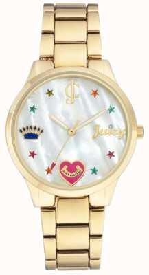 Juicy Couture Reloj de pulsera de acero dorado para mujer con rotuladores de colores. JC-1016MPGB