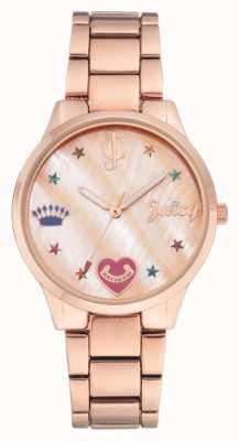 Juicy Couture Reloj de pulsera de mujer color oro rosado con marcadores de colores. JC-1016RMRG