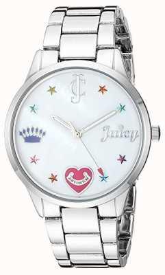 Juicy Couture Reloj de pulsera de acero plateado para mujer con rotuladores de colores. JC-1017MPSV