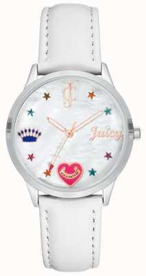 Juicy Couture Reloj de mujer con correa de silicona blanca con marcadores de colores. JC-1019WTWT