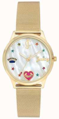 Juicy Couture Reloj de pulsera de malla dorada para mujer con marcadores de colores. JC-102WTGB