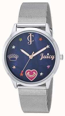 Juicy Couture Pulsera de malla de plata para mujer | marcadores de colores | esfera azul JC-1025BMSV