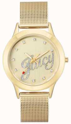 Juicy Couture Pulsera de malla dorada para mujer reloj de escritura jugosa JC-1032CHGB