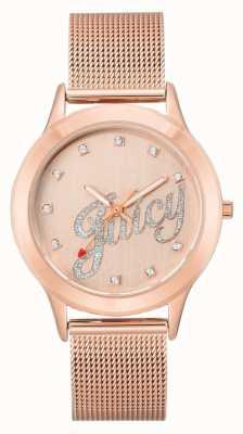 Juicy Couture Pulsera de malla dorada rosa para mujer reloj de escritura jugosa JC-1032RGRG