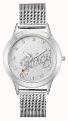 Juicy Couture Pulsera de malla de plata para mujer reloj con guión jugoso JC-1033SVSV