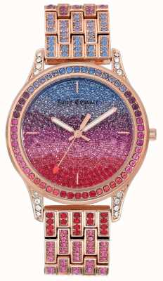 Juicy Couture Reloj para mujer con brillo y brazalete de acero dorado rosa. JC-1044MTRG