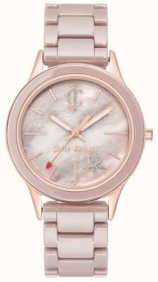 Juicy Couture Reloj analógico pulsera de acero chapado para mujer. JC-1048TPRG