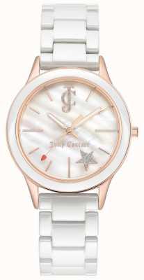 Juicy Couture Pulsera blanca para mujer esfera blanca caja dorada rosa tono JC-1048WTRG