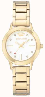Juicy Couture Pulsera de acero inoxidable para mujer color dorado esfera blanca. JC-1050WTGB