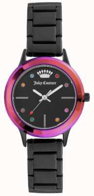 Juicy Couture Pulsera negra para mujer con esfera negra y bisel de colores. JC-1051MTBK
