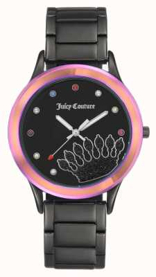 Juicy Couture Pulsera negra para mujer esfera negra con bisel coloreado. JC-1053MTBK