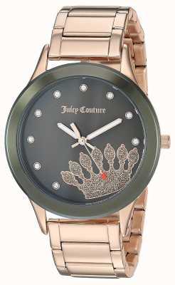 Juicy Couture Mujeres de oro rosa de acero inoxidable | esfera negra JC-1052OLRG