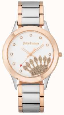 Juicy Couture Esfera de corona dorada rosa para mujer y pulsera bicolor. JC-1053WTRT
