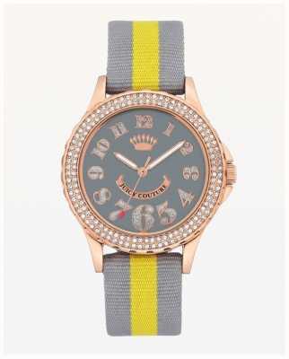 Juicy Couture Correa de nylon gris y amarilla de gran dial para mujer JC-1056RGGY