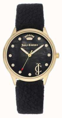 Juicy Couture Esfera negra para mujer | correa de terciopelo negro | estuche dorado JC-1060BKBK