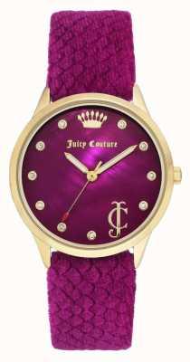 Juicy Couture Dial de Borgoña para mujer | correa de terciopelo burdeos | caja de tono dorado JC-1060HPHP