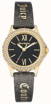 Juicy Couture Correa jugosa negra para mujer color dorado. JC-1068BKBK