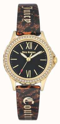 Juicy Couture Estuche dorado para mujer | correa de brazalete marrón | estuche negro JC-1068BKBN