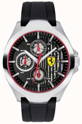 Scuderia Ferrari Cronógrafo negro para hombre con correa de caucho negro 0830510