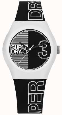 Superdry Cinturón y correa estampados en fusión urbana en blanco y negro SYL239BW