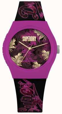 Superdry Urban tropicana correa de color púrpura y rosa imprimir correa púrpura SYL247BP