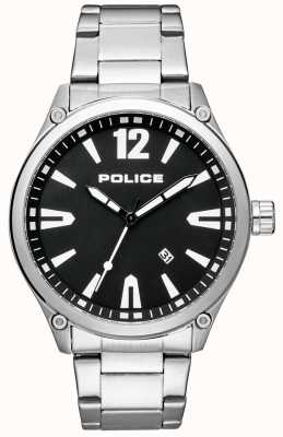 Police Pulsera para hombre estilo elegante acero inoxidable esfera negra. 15244JBS/02M