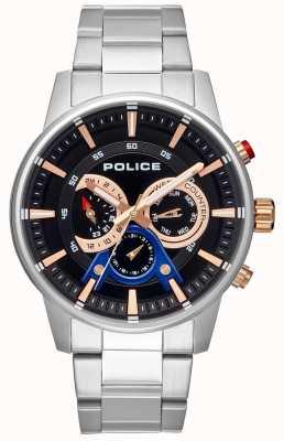 Police Brazalete de acero inoxidable para hombre de estilo elegante con esfera negra PL.15523JS/02M