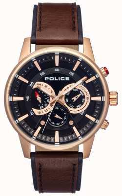Police Estilo elegante para hombre correa de cuero marrón esfera negra PL.15523JSR/02
