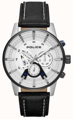 Police Correa de cuero negra de estilo elegante para hombre, esfera plateada PL.15523JSTB/04