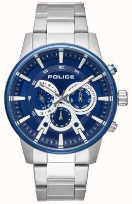 Police Brazalete de acero inoxidable para hombre estilo elegante con esfera azul PL.15523JSTBL/03M