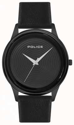 Police Hombres de estilo elegante negro correa de cuero negro esfera PL.15524JSB/02