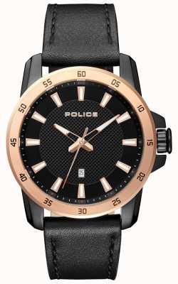 Police Hombres de estilo elegante negro correa de cuero negro esfera PL.15526JSBR/02
