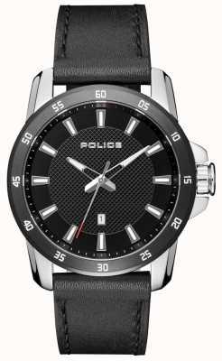 Police Hombres de estilo elegante negro correa de cuero negro esfera PL.15526JSTB/02
