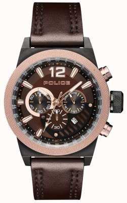 Police Estilo urbano correa de cuero marrón esfera marrón PL.15529JSBBN/12