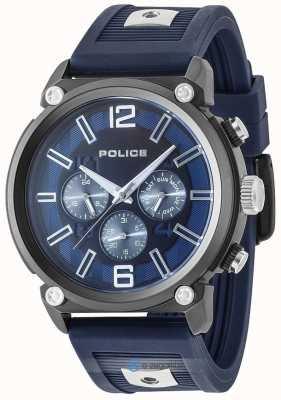 Police Correa de silicona bicolor para hombre estilo rebelde esfera azul PL.15049JSU/03P