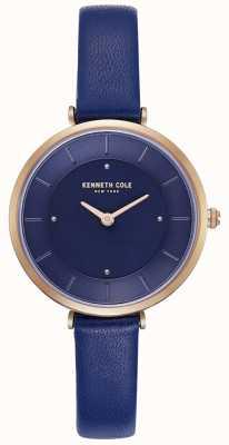 Kenneth Cole Señoras azul correa de cuero reloj de línea azul KC50306005