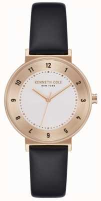 Kenneth Cole Reloj de mujer color negro correa de cuero blanco KC50075003