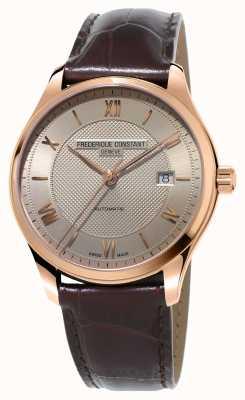 Frederique Constant Los hombres clásicos índice de cuero marrón dorado FC-303MLG5B4