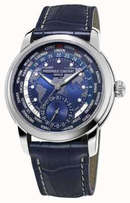 Frederique Constant Hombres fabricante worldtimer azul dial correa azul FC-718NWM4H6