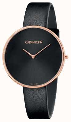 Calvin Klein Correa de mujer de luna llena de oro rosa negro para mujer K8Y236C1