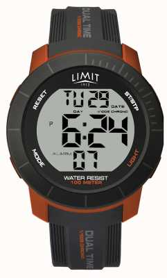 Limit Mens activo digital doble tiempo crono gris / naranja 5676.66