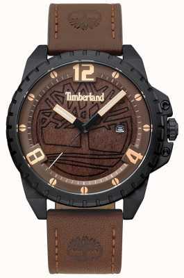 Timberland Hombres Eastford cuero marrón oscuro caja negra marrón esfera de madera TBL.15513JSB/12