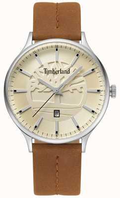 Timberland Correa de cuero marrón marinero para hombres dial beige TBL.15488JS/07