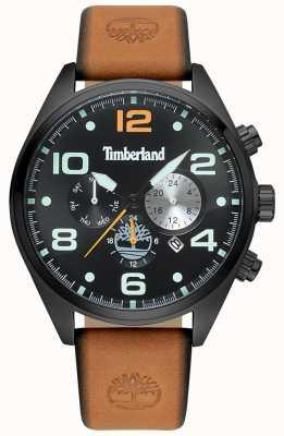 Timberland Hombres whitman tan correa de cuero negro caja y esfera TBL.15477JSB/02