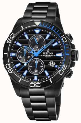 Festina Brazalete plateado pvd negro reloj cronógrafo negro reloj azul F20365/2