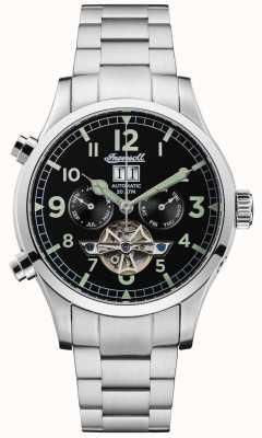 Ingersoll El acero inoxidable automático chrono negro armstrong para hombre I02103