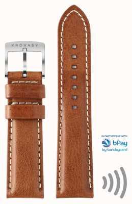 Kronaby Solo correa de pago sin contacto de cuero marrón de 22 mm de Bpay A1000-3359